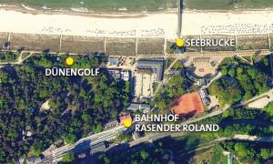 Lage und Standort der Outdoor-Minigolfanlage im Ostseebad Göhren auf der Insel Rügen - Freizeitspaß für die ganze Familie direkt an der Ostsee - Spiel und Spaß für Groß und Klein