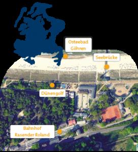 Lage der Minigolfanlage im Ostseebad Göhren auf der Insel Rügen - Freizeitspaß für die ganze Familie direkt an der Ostsee - Spiel und Spaß für Groß und Klein