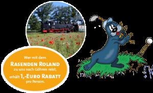 Anfahrt zur Outdoor Minigolfanlage im Ostseebad Göhren mit der Kleinbahn Rasender Roland und Rabatte