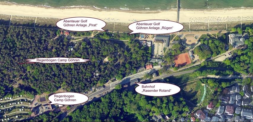 Lageplan der Outdoor Minigolfanlage im Ostseebad Göhren - Freizeitspaß für die ganze Familie
