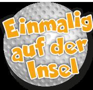 Golfball der Minigolfanlage im Ostseebad Göhren auf der Insel Rügen - Freizeitspaß für die ganze Familie direkt an der Ostsee - Spiel und Spaß für Groß und Klein