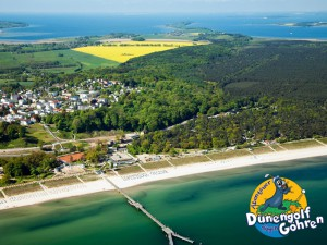 Luftbild von der Minigolfanlage im Ostseebad Göhren auf der Insel Rügen