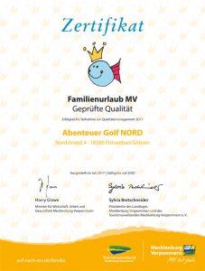 Familienurlaub MV - Zertifikat vom Tourismusverband MV für die geprüfte Qualität